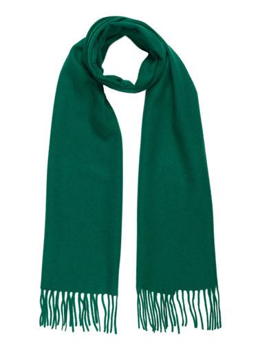 Silk and Cashmere Saf Kaşmir Patrick Tek Tarafli Atki Yeşil
